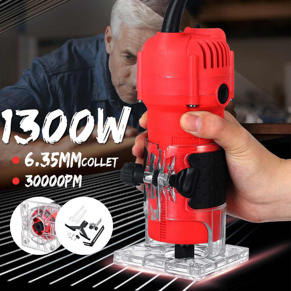 30000RPM 220V 110V 1300W 6.35mm Electric Hand Trimmer Wood Laminate Palms Wood Router Joiners Hand Carving Machine Woodwork Tool