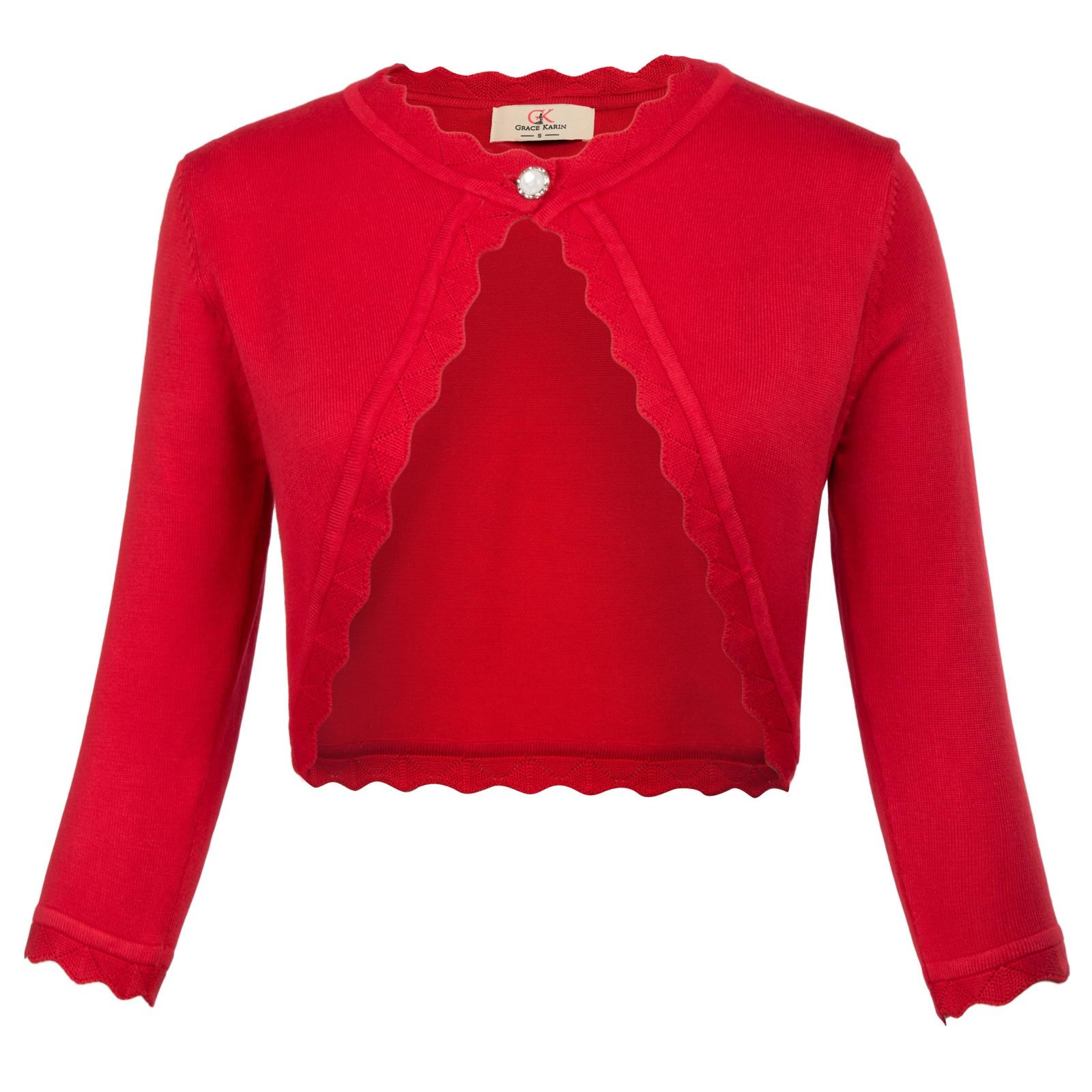 Women Knit Cardigan Sweater Shrug Crop Top Coat 3//4 Sleeve Button Down Sheer Red