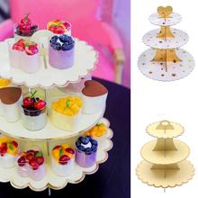 High-Grade Gilding Paper Three-Layer Cake Stand Disposable Dessert Table Multi-Layer Creative Snack Display Stand Table Tray