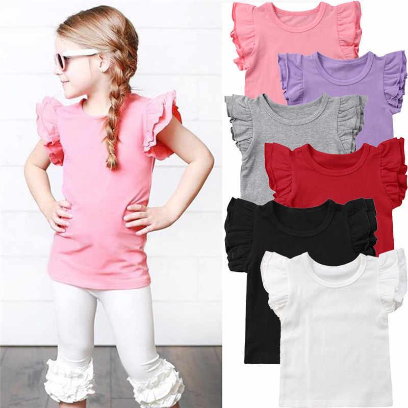 Neue 2019 Sommer Kleinkind Kinder Mädchen Rüschen Kurzarm Baumwolle T Tops Candy Farbe Kinder Mädchen T-shirt Kleidung 0- 6 jahre