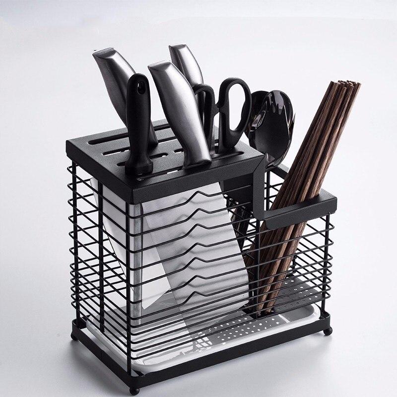Accessoires de cuisine outils organisateurs ménagers couteaux en acier inoxydable stockage noir Rack fourchettes stockage Type debout supports