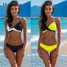 HolaSukey Push Up Bikinis Halter Top Bikini Set 2019 New Sexy Swimsuit Women Chest Cross Swimwear Beach Wear Biquini