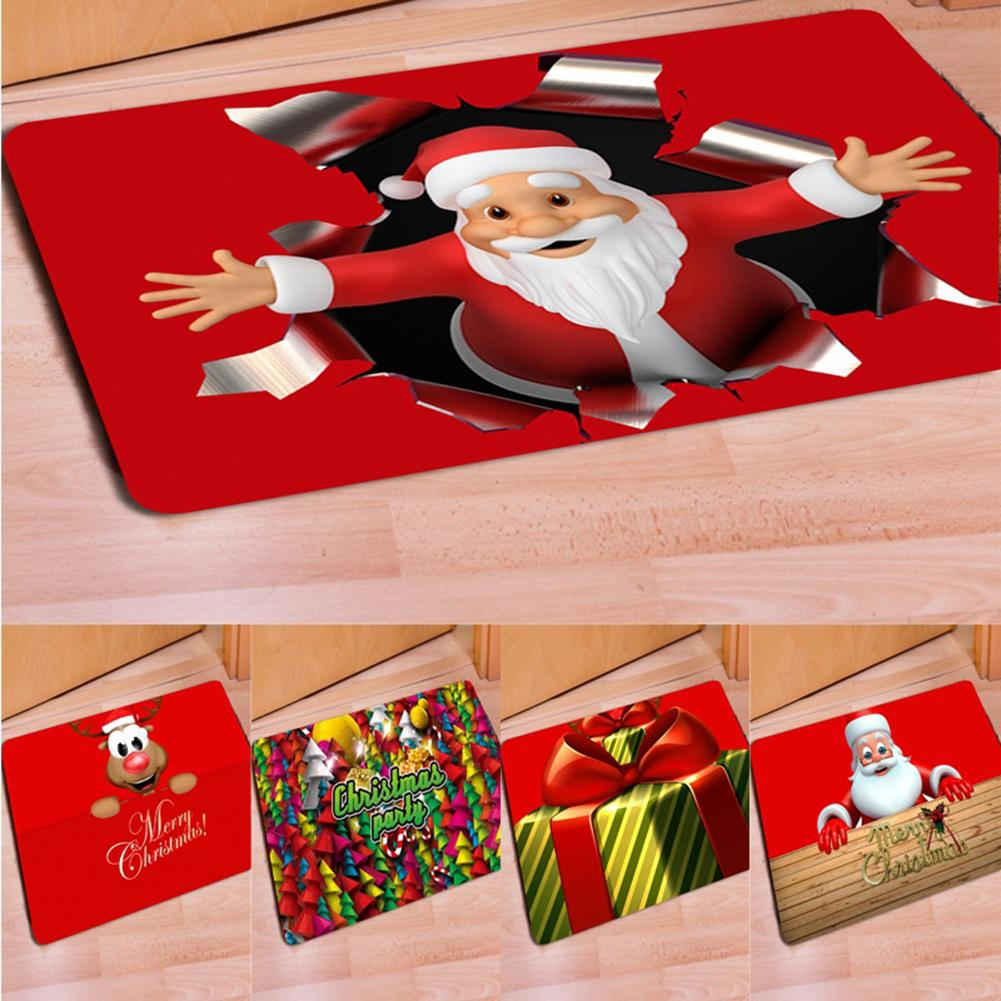 New Creative 40 X 60cm Non-Slip Doormat Christmas Style Santa Claus Anti-Slip Kitchen Bathroom Carpet Home & Garden