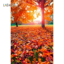 купить Laeacco Autumn Tree Fallen Red Leaves Bench Backdrop Photography Backgrounds Customized Photographic Backdrops For Photo Studio дешево