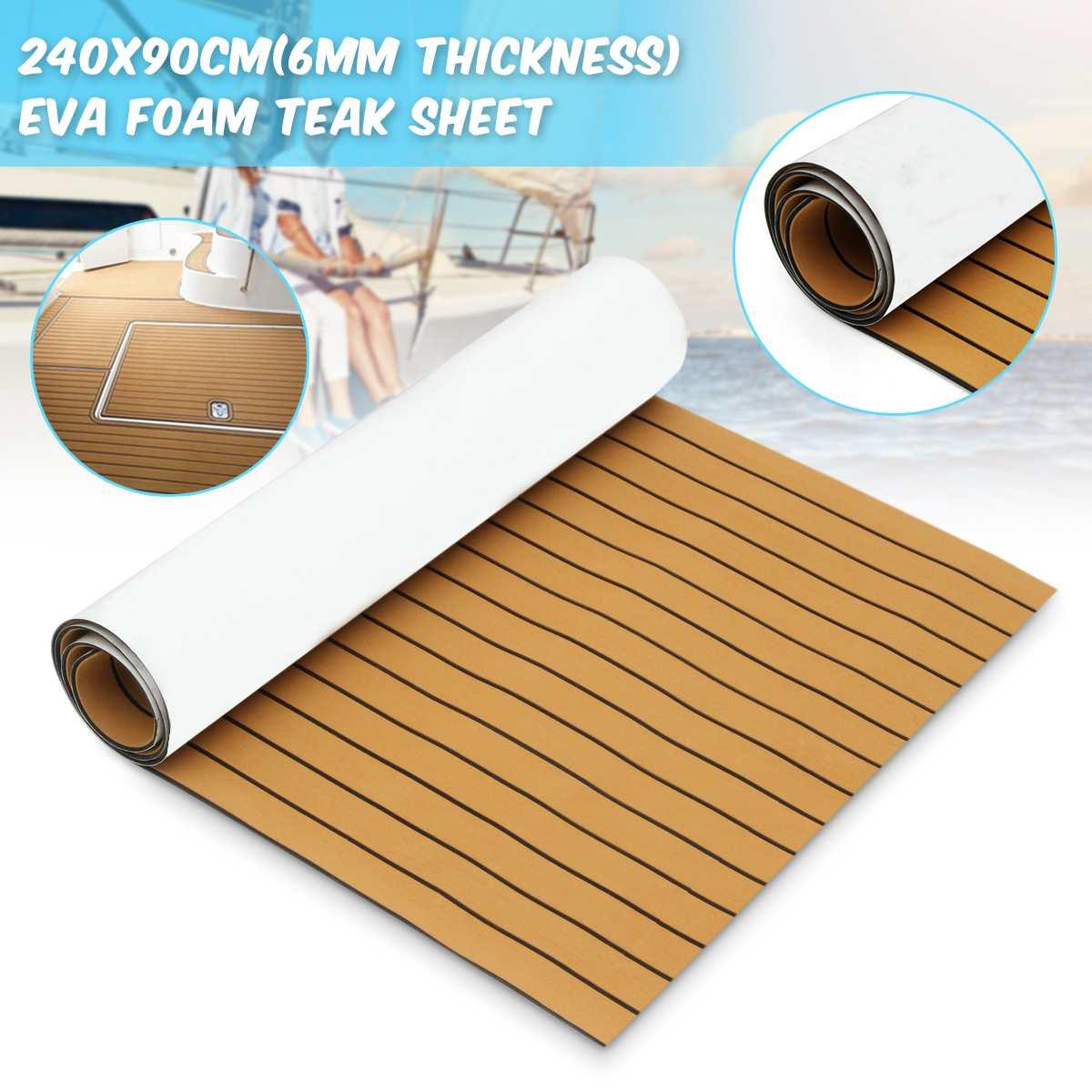 Auto-adhésif 2400x900x5.5mm or avec mousse noire EVA teck bateau plancher feuille Yacht teck synthétique platelage Pad