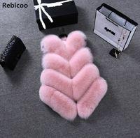 New 2019 Winter Women's Thick Warm Faux Fox Fur Vest High Quality Fashion V Neck Fur Coat For Women Outwear