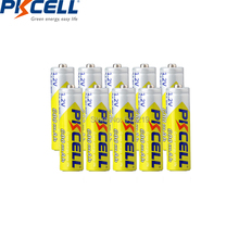 10 ADET PKCELL aa pil 600 MAH 1.2 V 2A şarj edilebilir piller NI MH aa batteria şarj el feneri oyuncaklar