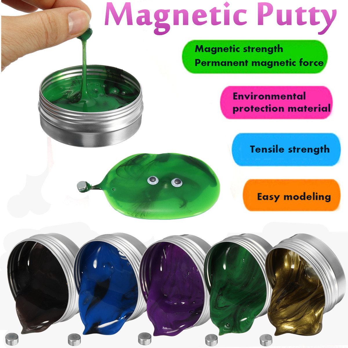 Creaty DIY Magnetic Slime Polymer Clay Intelligent Rubber Magnet Plasticine Mud Magic Hand Putty Doh Toys Kids Gift