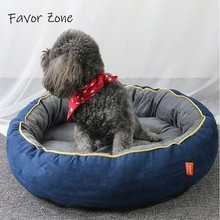 Pet Product For Dog Bed Cat House Soft Chamois Flannel Cotton Round Kennel Puppy Kitten Pets Beds Sofas Mat Goods