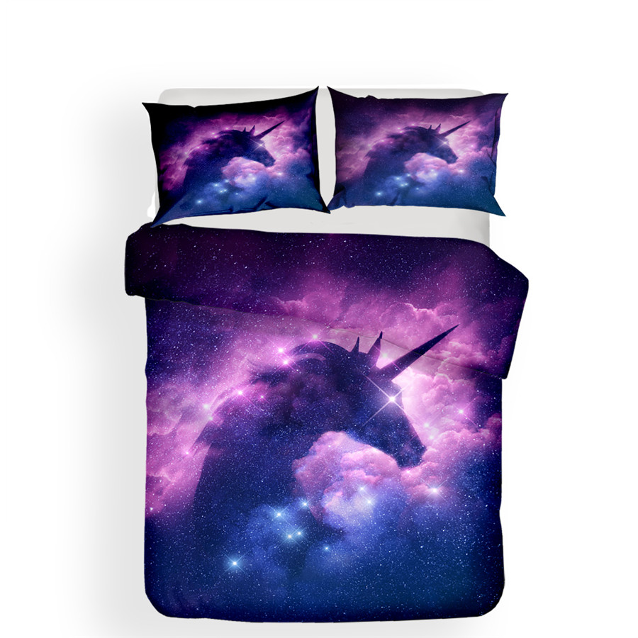 Image 2 - Bedding Set 3D Printed Duvet Cover Bed Set Unicorn Home Textiles for Adults Lifelike Bedclothes with Pillowcase #DJS18-in Bedding Sets from Home & Garden