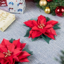 Pack Of 3pcs Christmas Ornaments Poinsettia Decoration For Home Tree Decorations Merry Xmas Decor