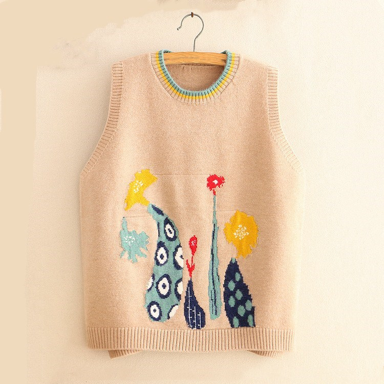 Spring Autumn Embroidery Thin Vests Casual Loose Sleeveless Sweater Floral Women O Neck Knitted Waistcoat