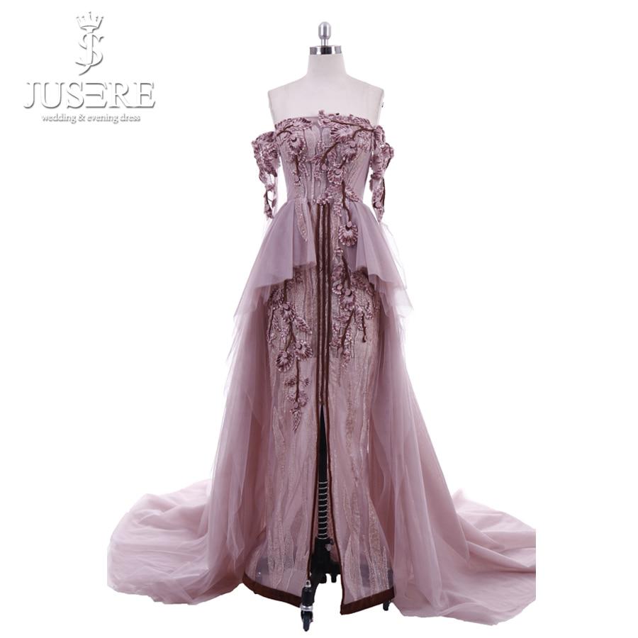 Luxe hors de l'épaule robes de soirée paillettes Appliques décor robe formelle manches longues perles cristal robe de soirée Photo réelle