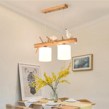 2/3 cabezas resina pájaro lámpara de madera luz colgante ...