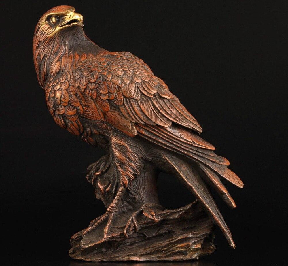 Винтаж коллекция Бронзовая статуя реалистичные Орел Box литья