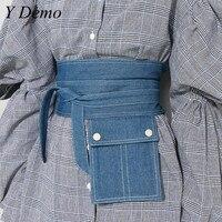 2018 Fashion Style Denim Pocket Drawstring Waist Seal Belt Women's Cummerbunds