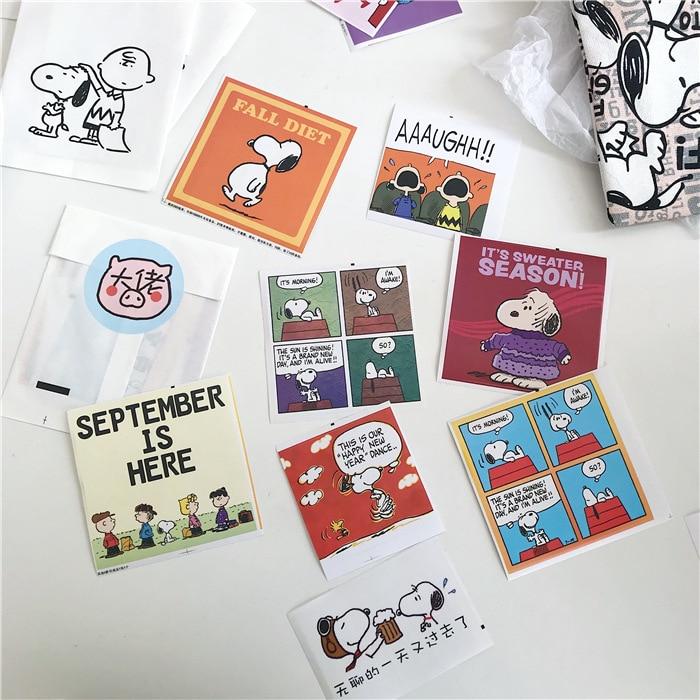 SIXONE 8 Pieces Cartoon Snoopys Stationery Sticker Cute Animation Handbook Decoration Photo Wall Sticker Girl Stickers