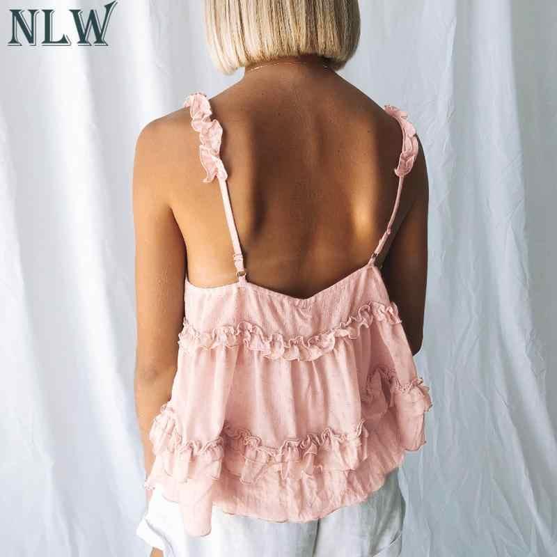 NLW 2019 летние модные женские короткие топы и блузки, повседневные женские сексуальные тонкие майки с v-образным вырезом и бретельками, топы для девочек, праздничные Топы