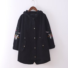 2019 Spring Embroidery Hooded  Women Long Trench Coat Plus Size Vintage Casual Overcoat Solid Large Sized Outerwear