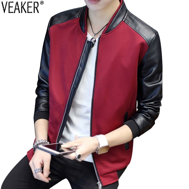 2019 Autumn New Men's Leather Patchwork Jackets Slim Fit Round Neck Black Casual Leather Jacket Outerwear Overcoat M-3XL