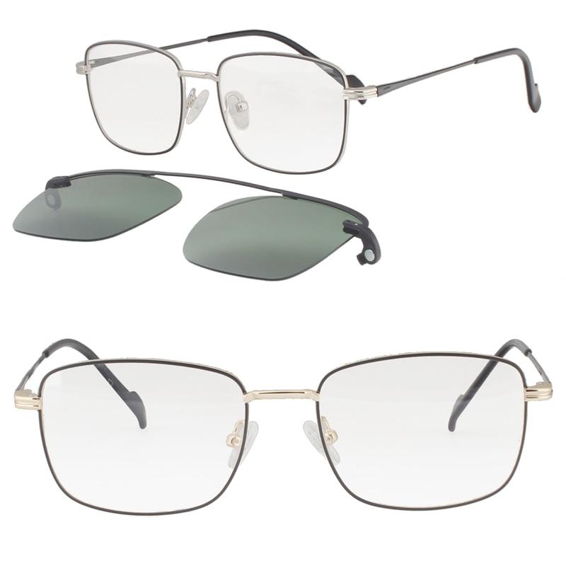 metal clip on sunglasses 3037 square shape prescription glasses with megnatic clip on removable polarized sunglasses lens
