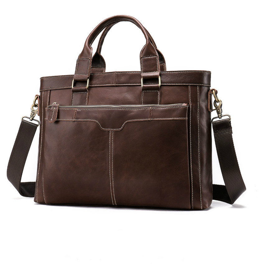 Classic Briefcase Men Office Bag Bags Genuine Leather Briefcases Men's Business 14 Inch Best Laptop Handbag Bolsa Masculina 2020