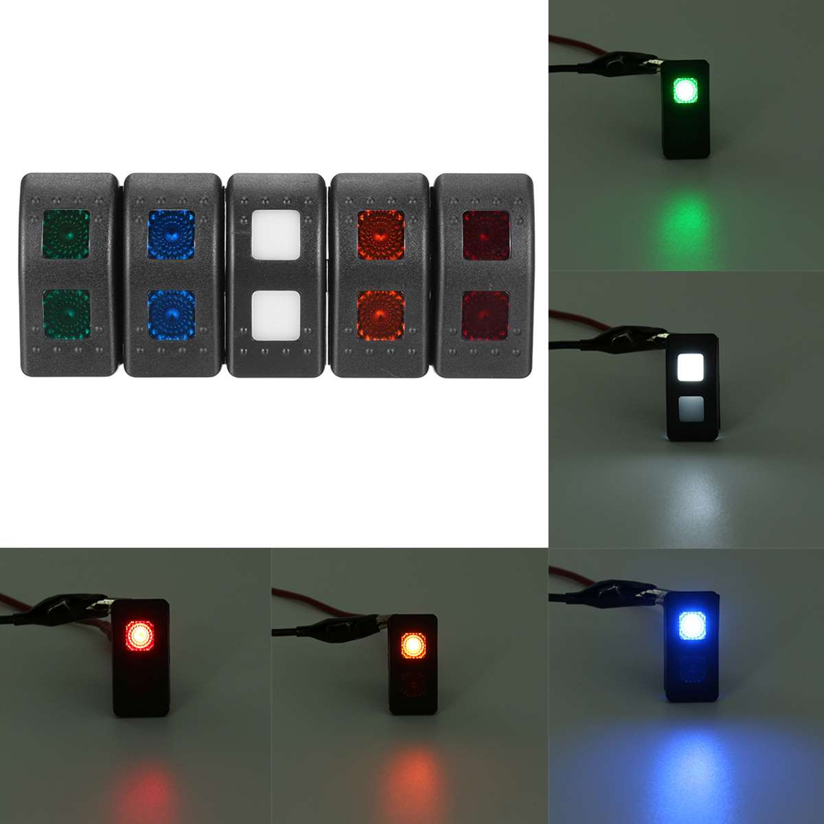 Universal 12V 7 Pins LED Light DPDT ON-OFF-ON Momentary Rocker Switch Car RV Boat image