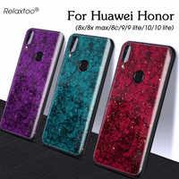 Honor 10 caso di luce marmo lamina d'oro per il caso di huawei honor 20 pro 9 10 lite 20s 10i 20i 8c 8s 8x max protezione shell della copertura di caso