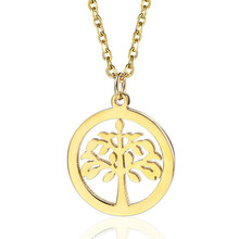 Tree Of Life Pendant Necklace Silver Gold Stainless Steel Simple Round Pendants For Women Men Necklaces Jewelry New