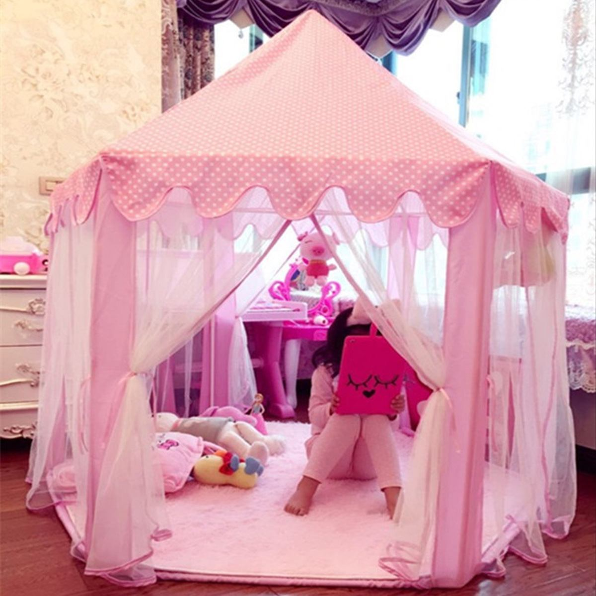 Children's Tent Pink Play Tent with Pad Princess Girl's Cast