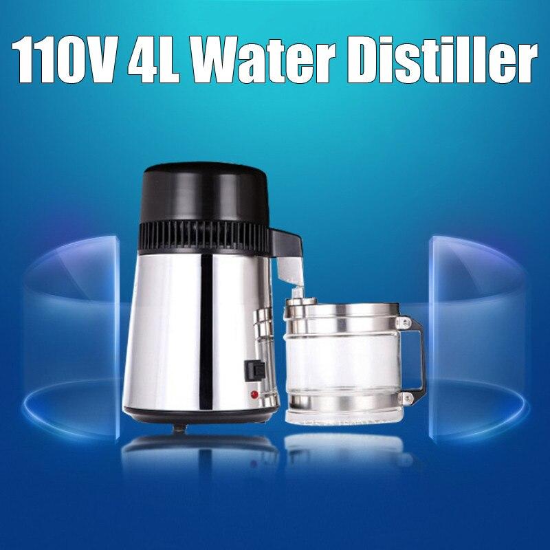 750W Uso Capacidade 4L 304 Caixa De Aço Inoxidável Recipiente de Filtro Purificador de Água Destilada Destilador de Água Pura Dispositivo 110V /220V
