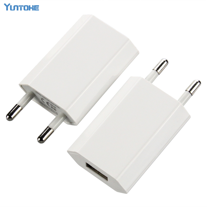 100pcs lot EU Wall Charger USB Plug 5V 1A AC White Micro USB Power Adapter For