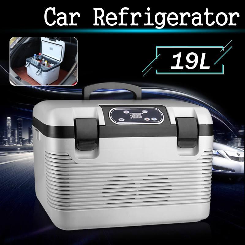 19L รถตู้เย็นแช่แข็งความร้อน DC12-24V/AC220V ตู้เย็นคอมเพรสเซอร์สำหรับรถบ้าน Picnic เครื่องทำความร้อนทำคว...