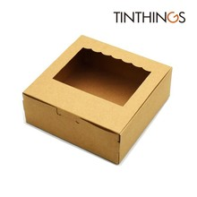 100 PCS Kraft Paper Gift Box Brown Wedding Party Favors Handicrafts Cosmetics Window Cake Packaging Candy Sweety