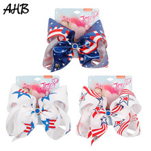 AHB Hair Accessories 7 4th of July Bows with Clip for Girls Printed Bowknot Hairgrips Independence Day Party Kids Headwear