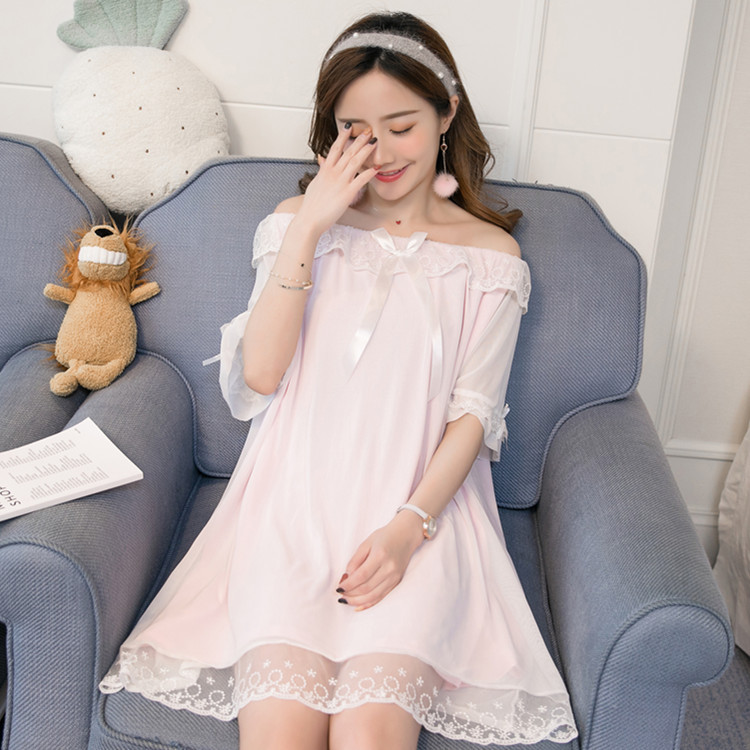 2019 Summer White Princess Nightdress Knitted Cotton Lace Nightgowns Sleepwear Sleepshirts Gowns Half Sleeve For Women