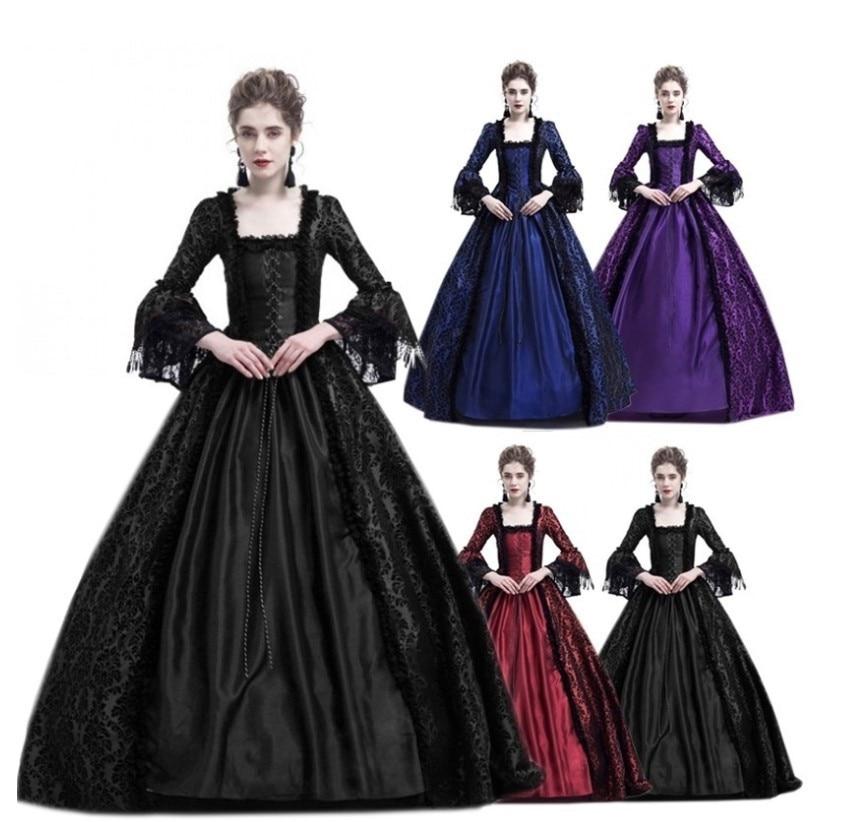 XXXL  Adult Woman Palace Court Princess Dress Elegant Ball Gown Square Collar Lace Halloween Costumes Renaissance Medieval Dress