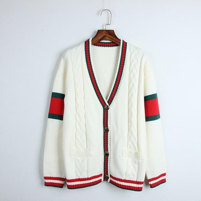 e898ef8337 2018 New Winter Cardigan Women Fashion Twist Knit Sweater Runway Vintage Red  Stripes V-neck