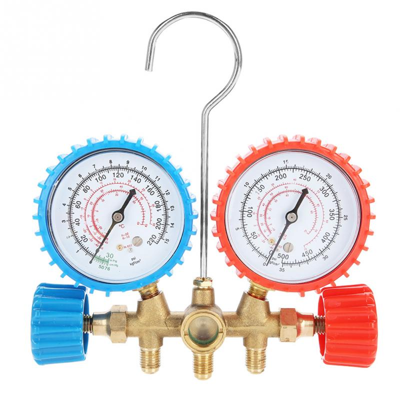 500PSI Refrigerant Air Conditioning Tools AC Diagnostic Manifold Gauge Sets With 3pcs Hoses For R12 R22 R502 Pressure Reading