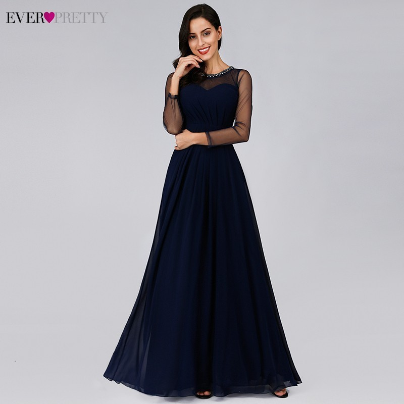 Elegant   Evening     Dresses   Long Ever Pretty A-Line O-Neck See-Though Sleeve Sexy Formal Party   Dresses   EZ07772NB Robe de Soiree