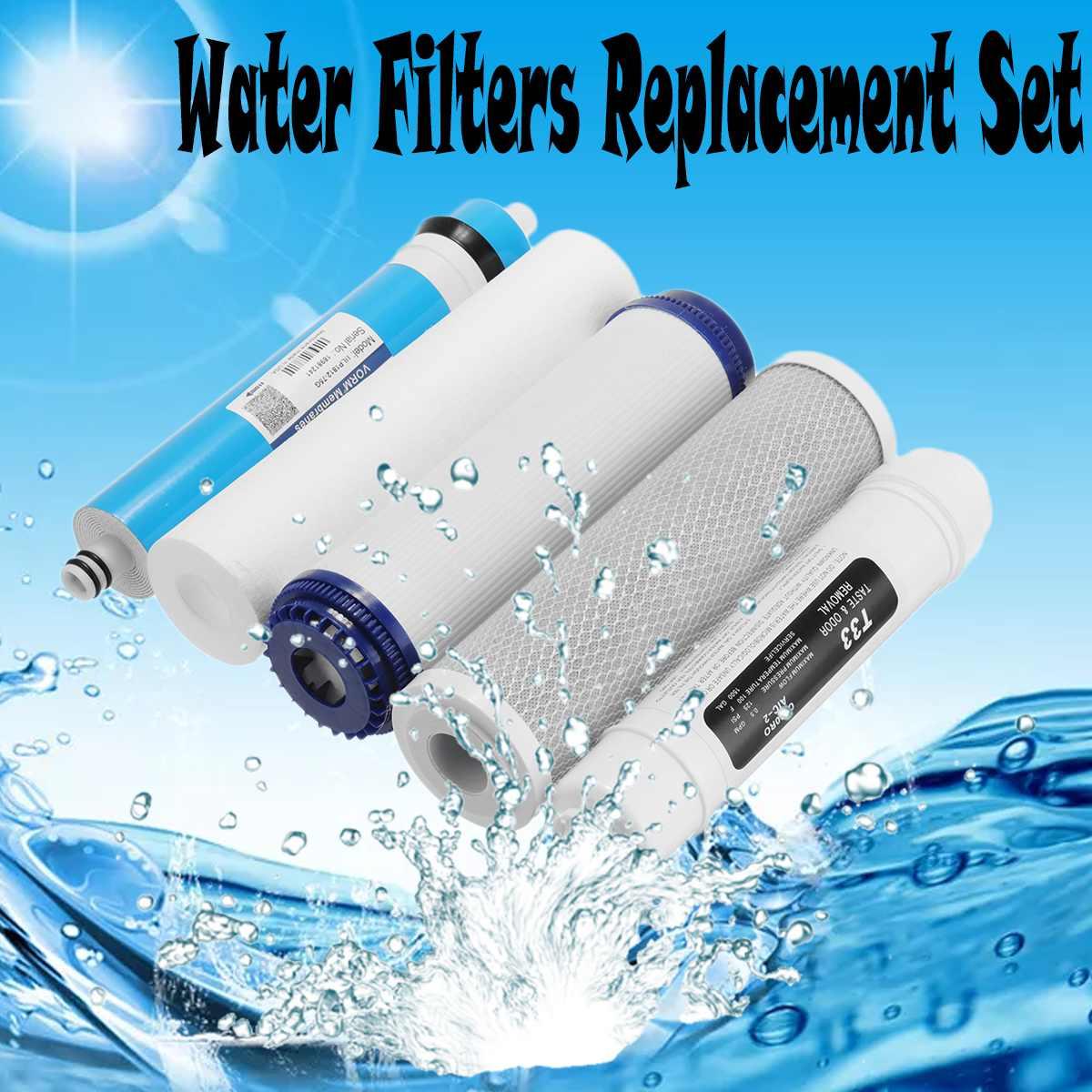 5 Conjunto de Substituição de Filtros de Água de Osmose Reversa RO palco com 75 GPD Membrana Cartucho de Filtro de Água Purificador de Água para Uso Doméstico