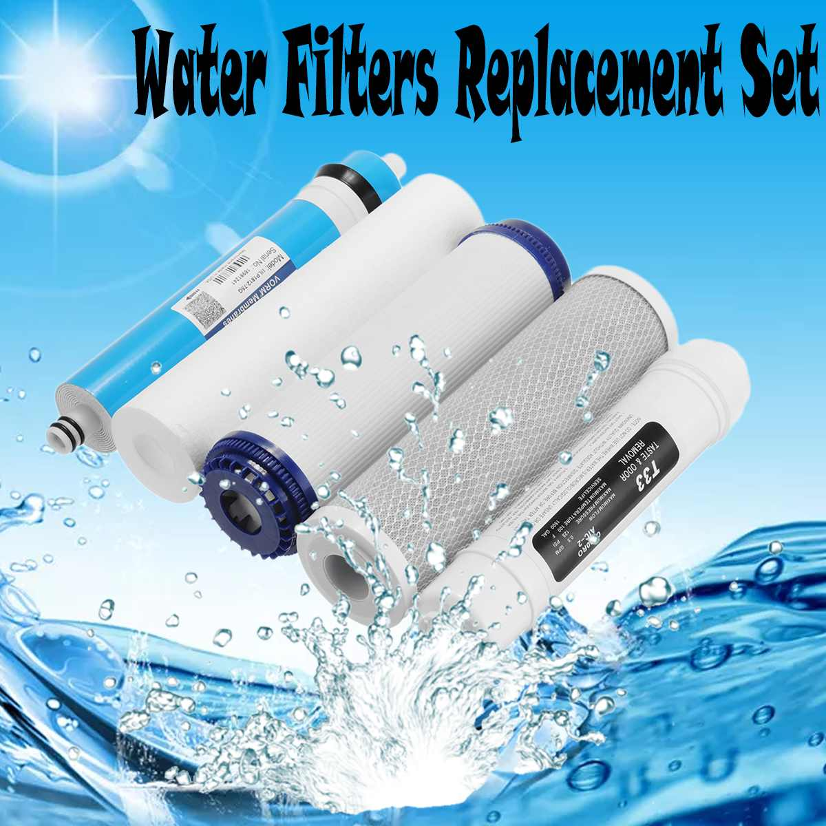 5  Reverse Osmosis RO Water Filters Replacement Set With Water Filter Cartridge 75 GPD Membrane Household Water Purifier