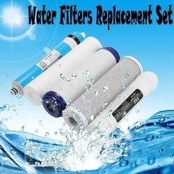 5 filtros de Osmosis inversa RO juego de reemplazo de filtros de agua con cartucho de filtro de agua 75 GPD membrana purificador de agua para el hogar