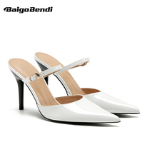 Size 33-40 Ladies Shinging Pointed Toe High Heel Sandals Woman Shiny Summer Buckle Strap Thin Heels Shoes Slippers 7 cm spring and summer thin heels high heeled pointed toe button female sandals small yards 31 32 33 plus size 40 41 42 43