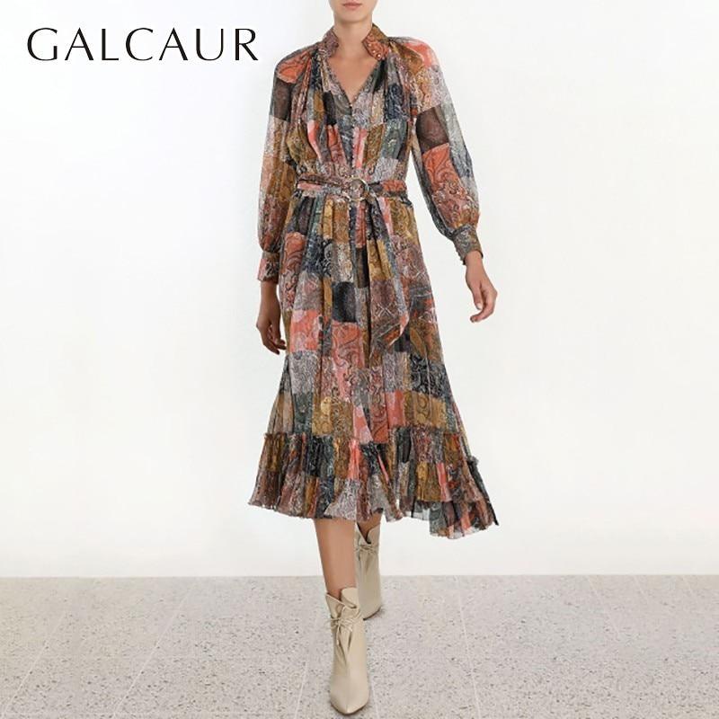 GALCAUR Print Women Dress V Neck High Waist Hit Color Ruffles Lantern Sleeve Big Size Long