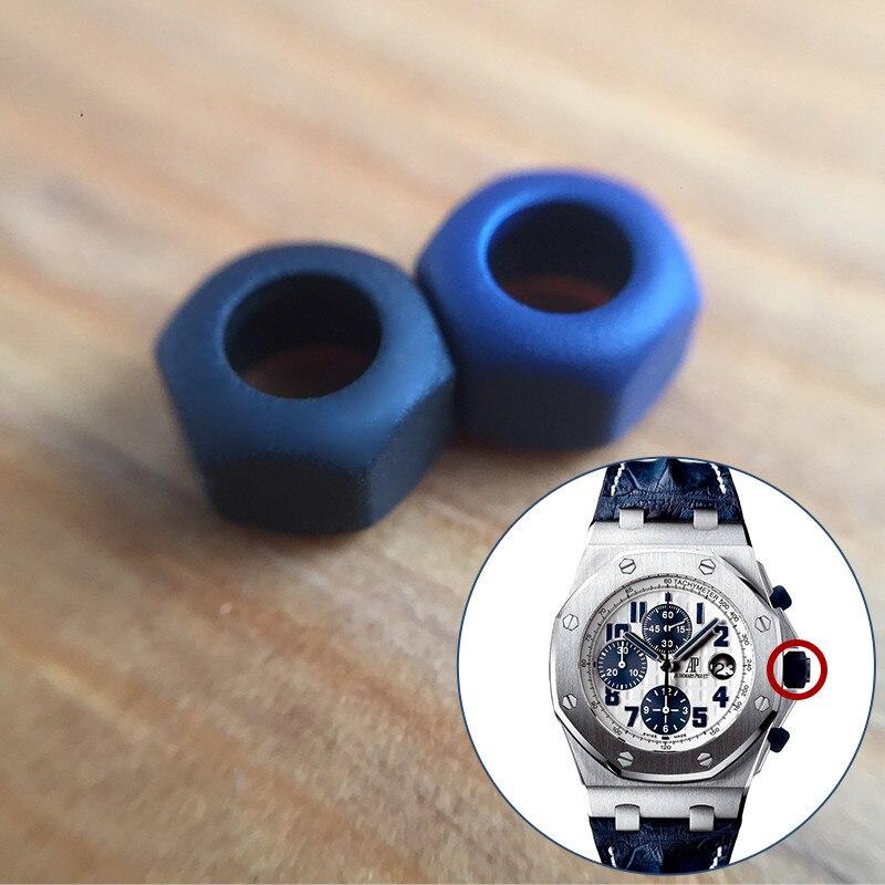 솔리드 스틸 + 고무 크라운 슬리브 커버 ap audemars piguet 로얄 오크 해외 42mm 크로노그래피 자동 시계 부품 도구-에서수리 도구 & 키트부터 시계 의  그룹 1