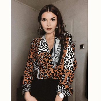 Leopard Print Women Blouse Sexy V-Neck Long Sleeve Loose Tops 2019 Fashion Ladies Office Shirts Club Wear Clothing Blusas Mujer blusa sexi animal print
