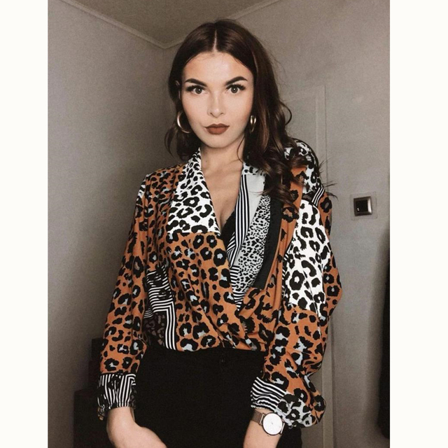 29323e56 Leopard Print Women Blouse Sexy V-Neck Long Sleeve Loose Tops 2019 Fashion  Ladies Office Shirts Club Wear Clothing Blusas Mujer
