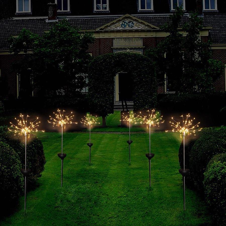 Solar Powered 90leds 150leds Copper Wire Starburst Firework LED String Light Christmas Wedding Garden Landscape Path Lawn Lamp