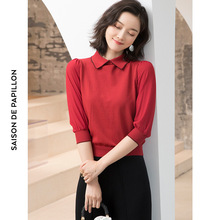 High-end womens sweater spring and summer new lapel short-sleeved ice silk bottom thin D103
